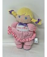 """Garanimals My Best Friend Blonde Plush Pink Stuffed Doll Rattle 8"""" Soft Toy - $9.99"""