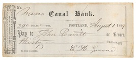 1859 Canal Bank check Portland Maine original ephemera - $6.50