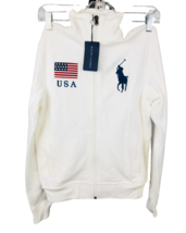 Ralph Lauren USA Womens Full-Zip Big Pony Sweatshirt Pima Cotton White S... - $118.71