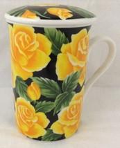 Tall Mug Cup with Lid Yellow Roses Floral Black White Sambo China Art Ma... - $19.74