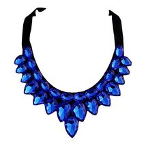 [Blue Drops] Women Acrylic Choker Necklace False Collar Removable Fake C... - $14.72