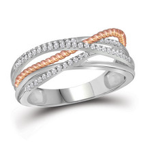 10kt White Gold Round Diamond Rose-tone Rope Crossover Strand Band 1/4 Cttw - £266.24 GBP