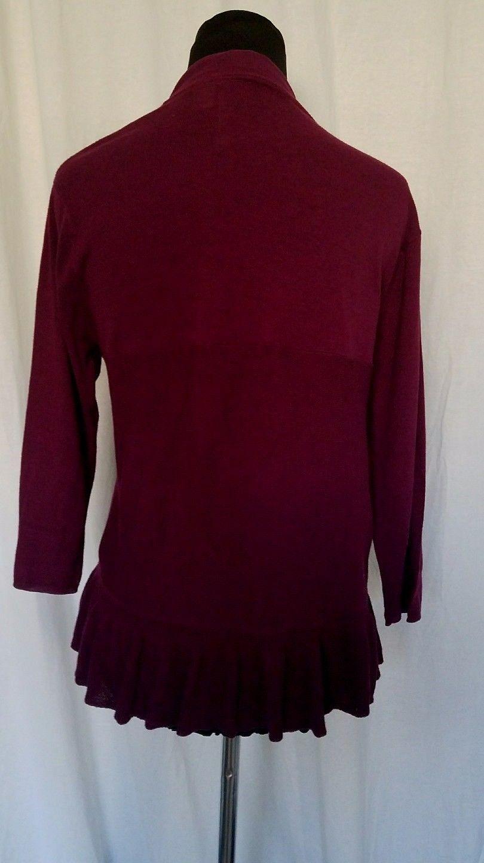 Guinevere Burgundy Cardigan Sweater Tie Closure Ruffle Hem 3/4 Sleeve Size L