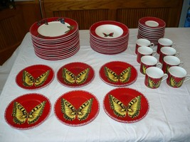 Lynn's Fine China Maesto Red Butterfly Dish Set 55 Pieces Excellent Cond... - $257.39
