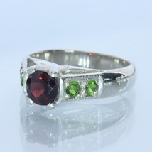 Red Garnet Green Chrome Diopside Handmade Sterling Silver Ladies Ring size 7.5 - £63.42 GBP