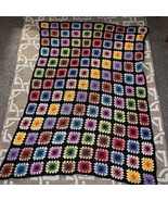 "Vntg Handmade Granny Square Afghan Approximately 78""X64"" Roseanne Style ... - $84.15"