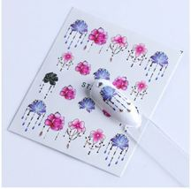 HS Store - 1 Sheets STZ-633 Colorful Purple Fantacy Flowers Nail Stickers - $1.34