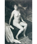NUDE Young Maiden Morning in Bed Pensive - 1903 Lichtdruck Print - $8.44