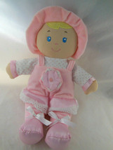 """Kids Preferred First Soft Plush Doll Rattle Pink Hat & Dress Crinkly Flower 12"""" - $6.92"""