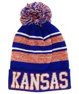 Kansas Men's Blended Stripe Winter Knit Pom Beanie Hat (Blue/Red) - $12.95