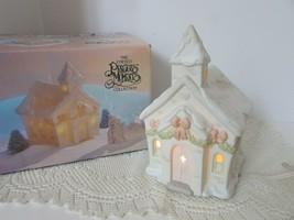Enesco Precious Moments Porcelain Lighted Bldg Chapel Nightlight W/FIGURES - $15.79