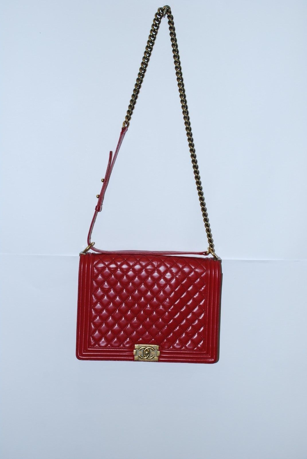 e311509d5e57 CHANEL Boy Red CC Quilted Leather Handbag Chain Messenger Shoulder Bag Large
