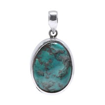 Handmade Inspired Oval Turquoise Stone Silver Pendant Fashion Jewelry - $29.67