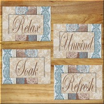 Blue and Brown Damask Bathroom Wall Art Prints Quotes Relax Refresh Soak Unwind - $13.99