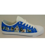SHIH TZU DOG Size 9 Eur 40 Blue Canvas New Sneakers New Womens Shoes - $59.40