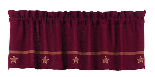 "Primary image for farmhouse country primitive Burgundy Wine Burlap Star VALANCE curtain 16"" x 60"""