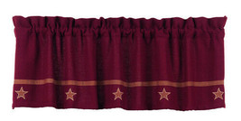 "farmhouse country primitive Burgundy Wine Burlap Star VALANCE curtain 16"" x 60"" - $29.95"