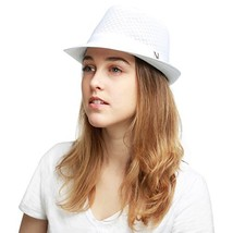 Black Horn Classic Cool Soft Mesh Fedora hat L/XL, White - $21.32