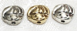 LITTLE BOY FACE FINE PEWTER BEADS VERTICAL HOLE  - 10x8x4mm image 1