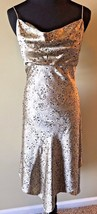 Adrianna Papell 100% Silk Gold Black Beaded Spaghetti Strap Dress size 10 DS10 - $28.95