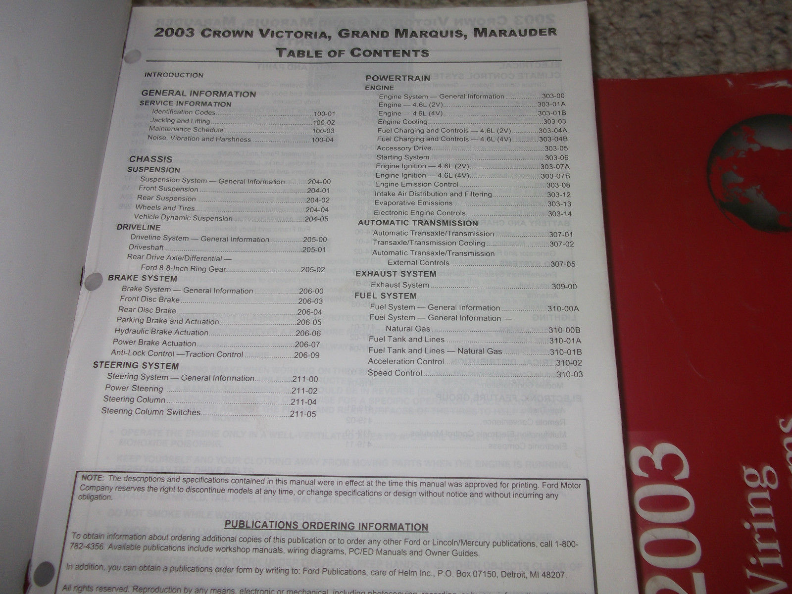 2003 FORD CROWN VICTORIA MERCURY GRAND MARQUIS Service Shop Repair Manual NEW