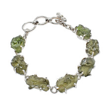 Stones Desire Moldavite Sterling Silver Tennis Bracelet - $379.05