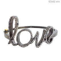 Vintage Inspired .925 Silver Pave Diamond LOVE Bangle Bracelet 14 K Gold... - $464.93