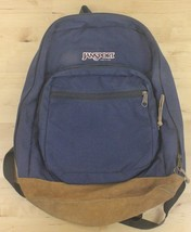 Vtg 90's Jansport Suede Leather Bottom Navy Blue Backpack School Book Bag - $29.95