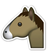 Emoji Horse Face shaped vinyl sticker 100mm or 150mm equine racing show ... - $3.00+