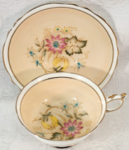 Paragon Cup & Saucer Fall Flowers Cream By Appt to HM The Queen & HM Queen Mary - $149.99