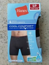 NewHanes 4 Tagless Boxer Briefs Cool Comfort Breathable Mesh Size S/P Bl... - $12.72