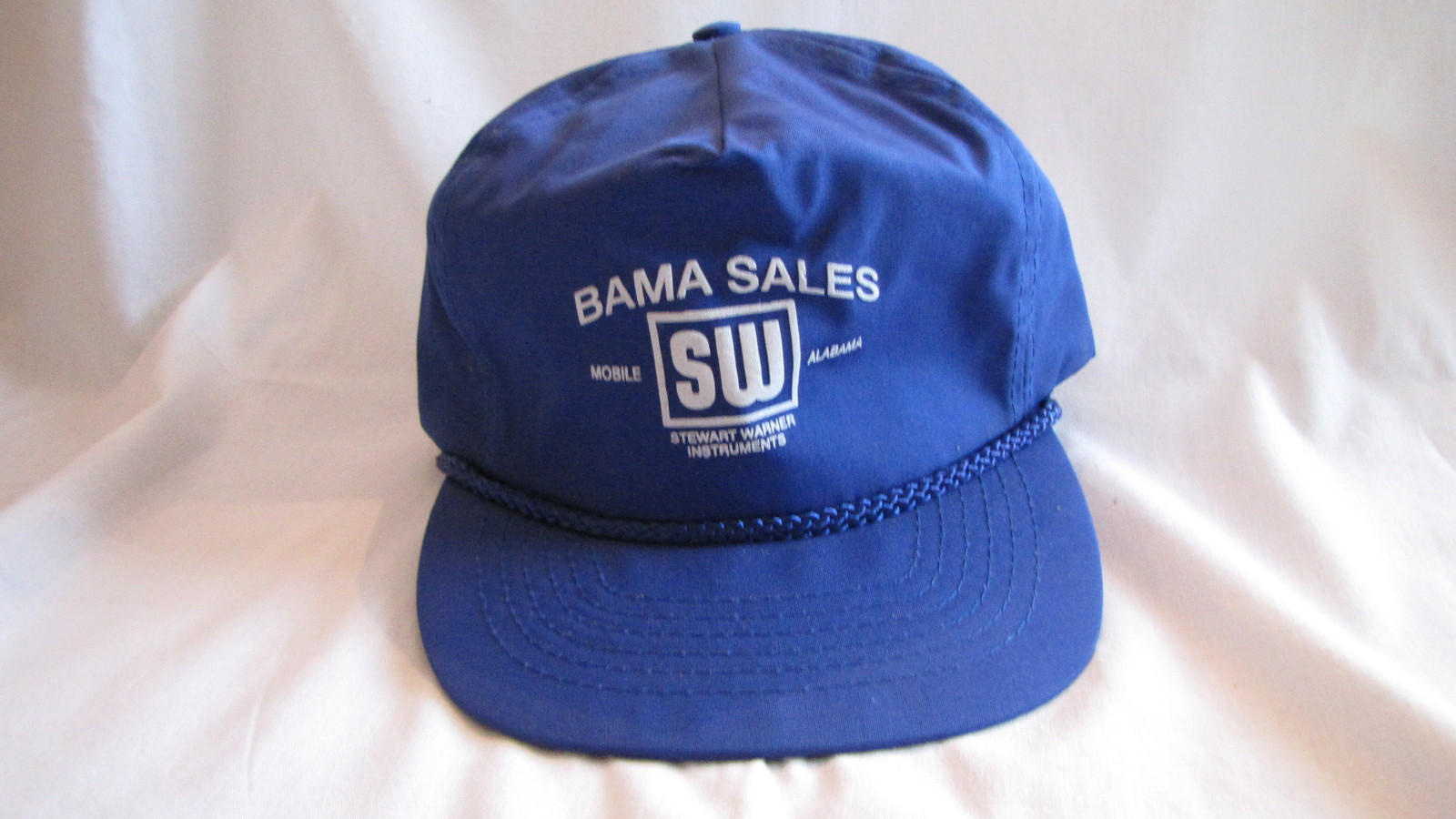 Bama Sales Stewart Warner Mobile, AL Blue Baseball Trucker Hat Snap Back VINTAGE