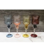 4 Blown Glass Twisted Stem Wine Glasses Amethyst Rose Smoke Amber - $53.46