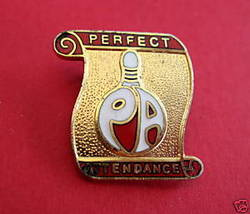 PERFECT ATTENDANCE Bowling Souvenir Lapel Hat Pin - $5.99