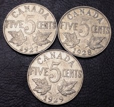 1927, 1928, 1929 Canada 5 Cents Nickel Coins - Great Condition - $5.76