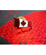 ENAMEL CANADA MAPLE LEAF FLAG Souvenir Lapel Pin - $5.99