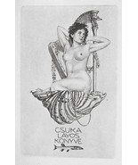 NUDE EX LIBRIS Nymph Muse in Seashell Playing Harp - 1922 Lichtdruck Print - $16.20