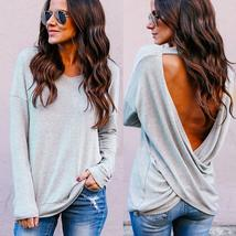 Sexy Fashion Womens Casual Crop Solid V-Neck Backless T-Shirt Blouse Sol... - $34.48+