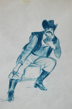 """23"""" Vintage Drawing Pastel Sketch Traditional Mexican Card Player Cheati... - $47.49"""