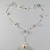 Necklace White Gold 18KT with Aquamarine Pearls Akoya Pearl & Baroque Drop image 1