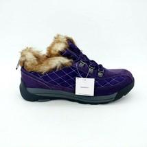 Lands End Womens 420475 Powder Belle Suede Shoe Faux Fur Lace Up Rich Purple 7.5 - $44.54