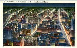 Linen Postcard. Night Scene of Cleveland's East Side from Terminal Tower - $4.95