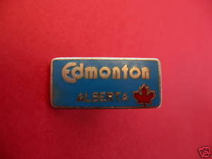 EDMONTON ALBERTA Lapel Pin Hat Pin Canada RED MAPLE LEAF Souvenir Collector