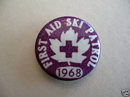 Vintage FIRST AID SKI PATROL 1968 Pinback Button Badge - $9.99