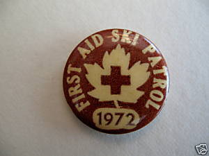 Vintage FIRST AID SKI PATROL 1972 Pinback Button Badge Lapel Pin Souvenir