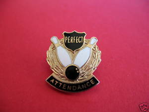 BOWLING PERFECT ATTENDANCE Lapel Pin Hat Pin Collector Souvenir Vintage