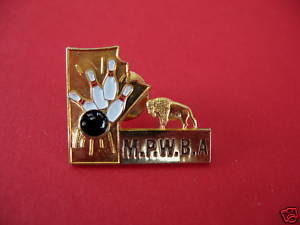 MANITOBA WOMENS BOWLING ASSOCIATION Lapel Pin Hat Pin Collector Souvenir MPWBA Bonanza