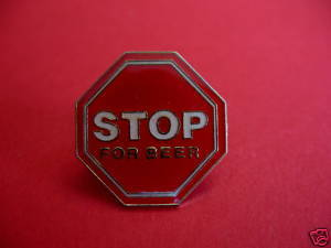 STOP FOR BEER SIGN Lapel Pin Hat Pin Collector Souvenir Vintage Collectible