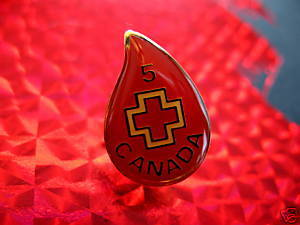 RED CROSS BLOOD 5 TIME DONOR Souvenir Lapel Hat Pin