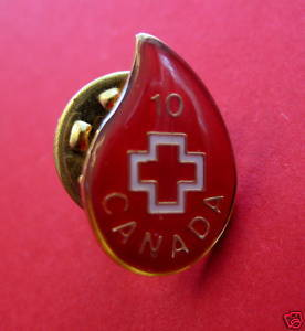 CANADA RED CROSS Lapel Pin Hat Pin BLOOD DROP 10 TIME DONOR Souvenir Collector